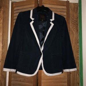 The limited blue blazer with white border size xs